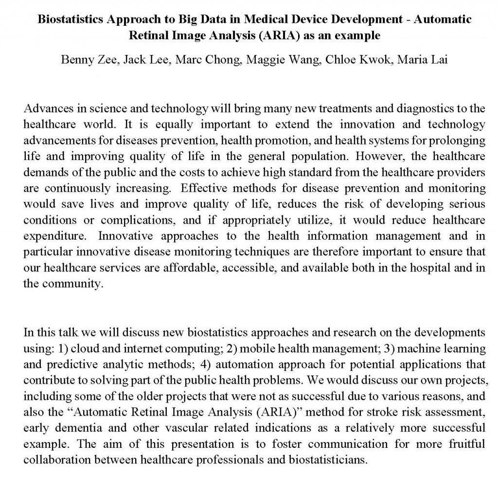 Abstract - Biostatistics Approach to Big Data in Medical Device Development 2